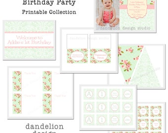 PRINTABLE Full Collection - Shabby Chic Party Collection - Dandelion Design Studio