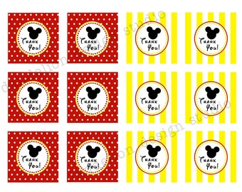 PRINTABLE Favor Tags - Mickey Mouse Party Collection - Dandelion Design Studio