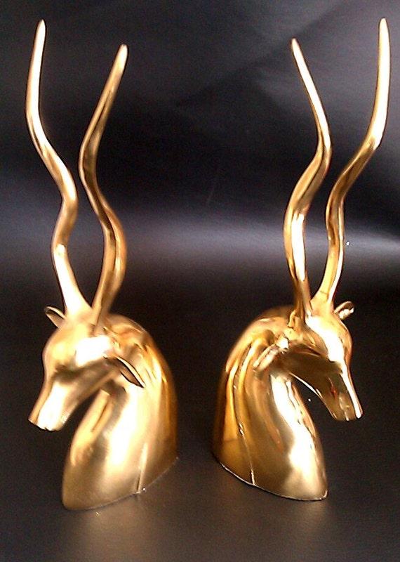 Vintage pair of brass deer antler bookends statues by eddiesshoppe - Deer antler bookends ...