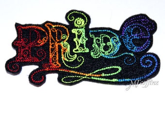 Rainbow Pride Neon Swirling Word Iron On Embroidery Patch MTCoffinz (Black or White)
