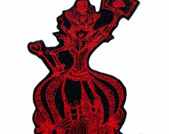 Red Queen of Hearts Alice in Wonderland Iron On Embroidery Patch MTCoffinz