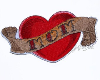Retro Tattoo Style MOM Red Heart Ribbon Iron On Embroidery Patch MTCoffinz
