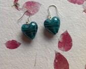 Teal Lampwork Glass Hearts sterling silver earrings