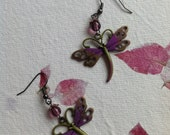 Antique brass dragonfly earrings