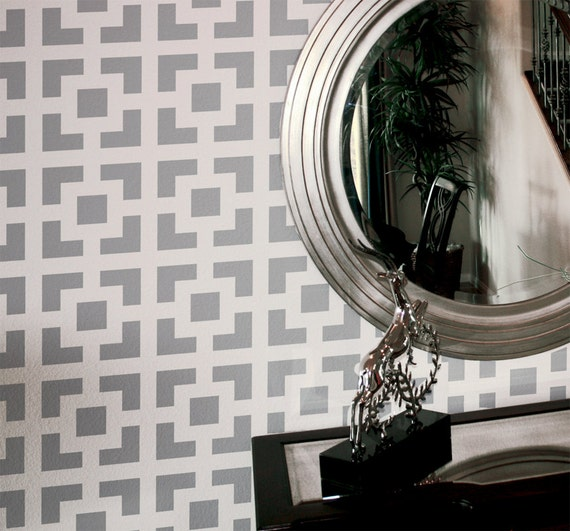 Wall Stencil Geometric Square Pattern Wall Room By Omgstencils