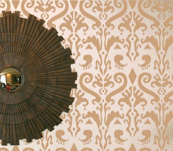 Wall Stencil Ikat Art Damask Pattern Wall Room By Omgstencils