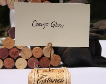 Wine Cork Place Card Holder set of 5 wedding party placecard