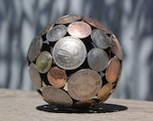 Mini mixed world coin ball, 8.5 cm Coin sphere, Metal sculpture ornament