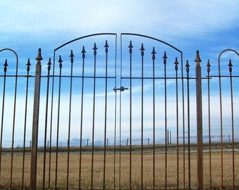 """Double Opening Gate 43"""" wide and Works with Our 4' tall Wrought Iron Fence"""