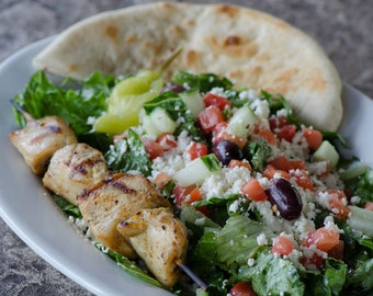 Greek Salad  with Chicken Kabob Recipe