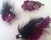 Feather and Flower Hair Clip Trio (Sold as a set)