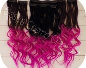 """ONE PIECE 12"""" Pink Passion Ombre Dip Dye Clip In Human Hair Extensions Sample"""