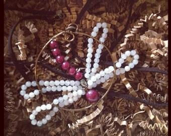 Dragonfly Wire Pendent - Genuine Genstones - Vintaj Natural Brass - Handmade