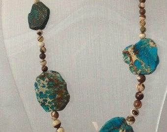 On The Map - Blue Imperial Jasper & Zebra Jasper Necklace with Sterling Silver Clasp - Genuine Gemstone