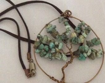 Turquoise Tree of Life Pendent - Genuine Genstone - Vintaj Brass