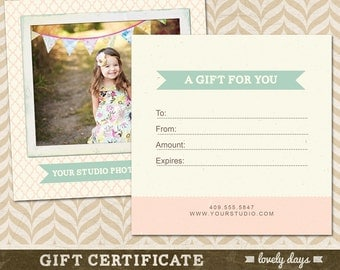Photography Gift Certificate Template for Professional Photographers INSTANT DOWNLOAD