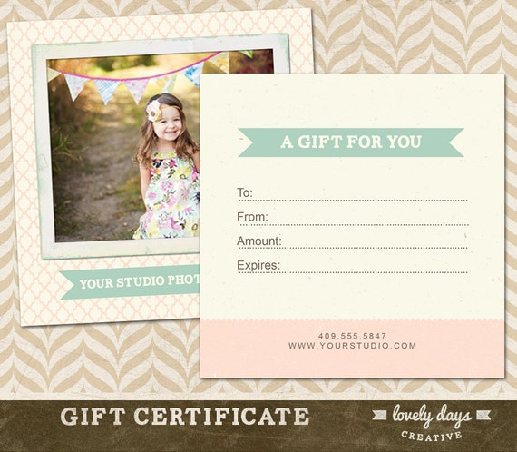 Photography gift certificate template for professional photography gift certificate template for professional photographers instant download yadclub Image collections