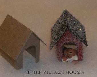 Little Village Christmas Houses- DIY Putz Houses-  Dog House-set of 2
