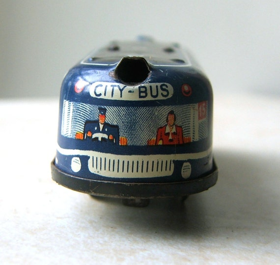 Vintage Tin Bus, Vintage Tin Toy, 1950s City Bus, Tin Toy Bus