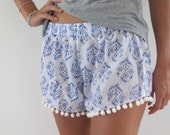Pom Pom Shorts, Blue & White Print Trendy Beach Shorts - 70's inspired gym shorts