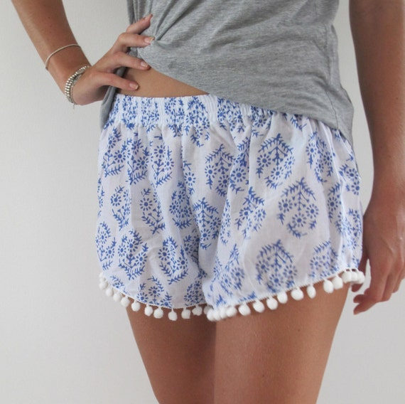 Pom Pom Shorts Blue & White Print Trendy Beach Shorts