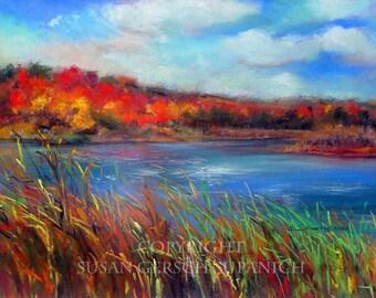 "Art Print  ""Autumn Splendor"" colorful fall landscape painting  red 11 x 14 print - Susan Gersch Supanich"