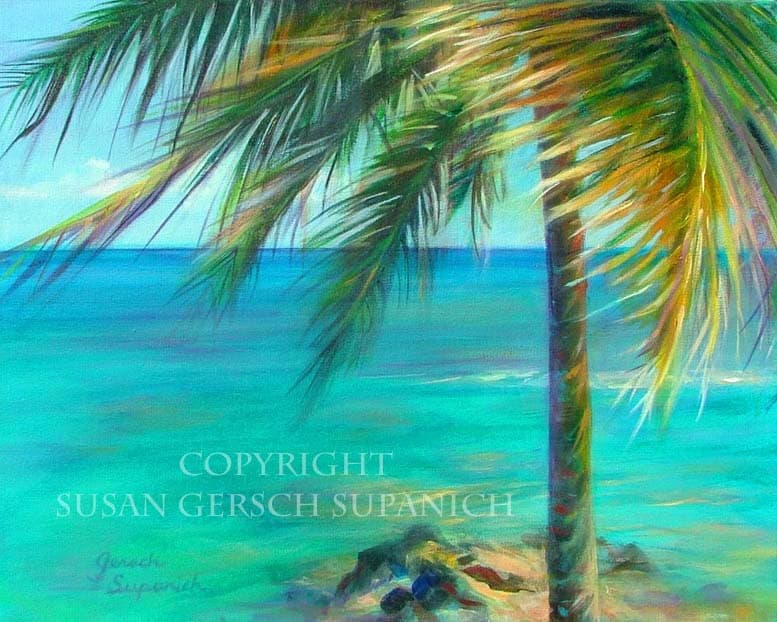 Art print bahama breeze colorful palm tree for Painting palm trees