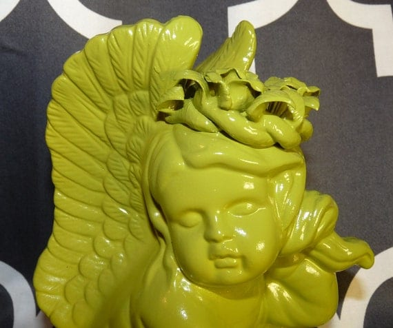 Christmas Angel, Angel Decor, Chartreuse Angel, Outdoor/Indoor Decor, Religious, Cherub, Home Decor, Office Decor, Kitchy Figurine