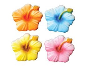 Hibiscus Edible Assort Sugar Dec-Ons-Assorted Hibiscus Flower shaped sugar Dec-Ons are the perfect accent for any tropical theme.