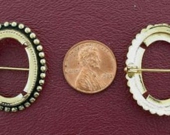 gold plated 25x18  antiqued cabochon pin mounting