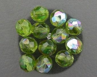 12  olivine  ab czech fire crystal beads 8mm