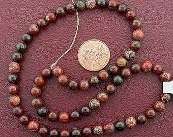6mm round gemstone breciated jasper beads 15 inch strand