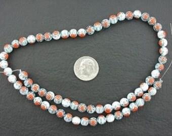 6mm  turquoise / orange / white flower glass beads