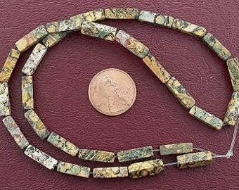 13x4 rectangle gem leopardskin jasper beads