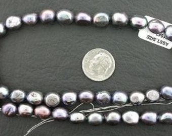 16 inch strand large dark silver gray freshwater pearls