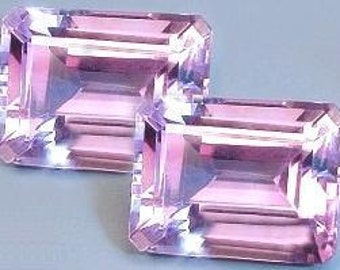 one - 8x6 emerald cut amethyst gem stone gemstone
