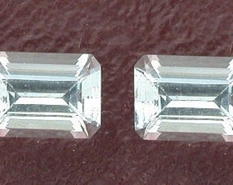one 6x4 light blue aquamarine emerald cut gemstone