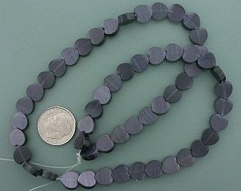 8mm black heart fiber optic bead strand