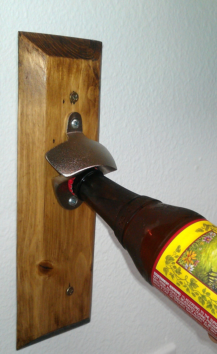 Wall Mounted Beer Bottle Opener By Recycledwoodworking On Etsy