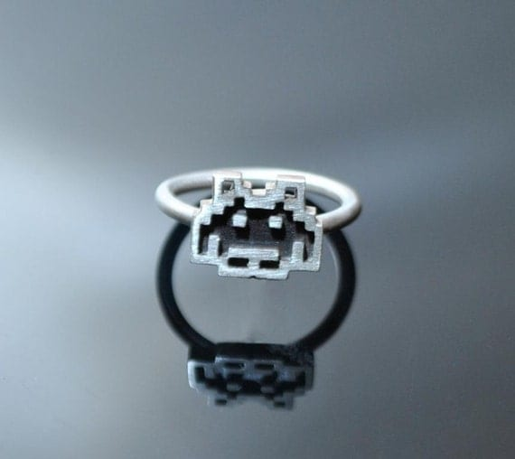 Delicate Silver & Enamel Space Invader Ring
