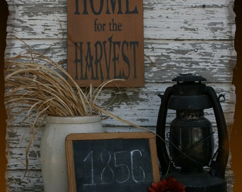Home For The Harvest Fall Primitive Smokehouse Stenciled Sign Decor