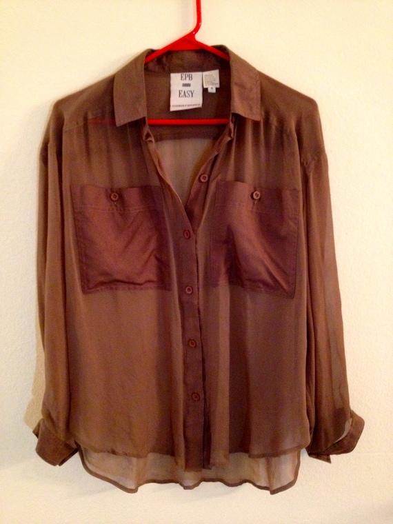 The Sheer Blouse, Vintage Blouse - Shirt - Top - Brown - Sheer