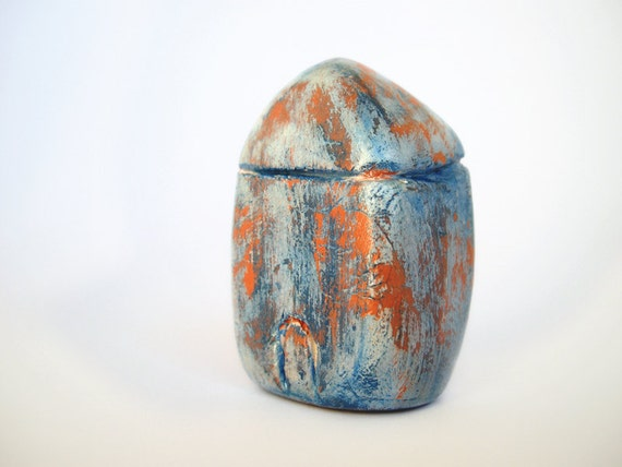 Miniature blue clay house, rustic home decor, blue and terracotta clay, shabby chic decor
