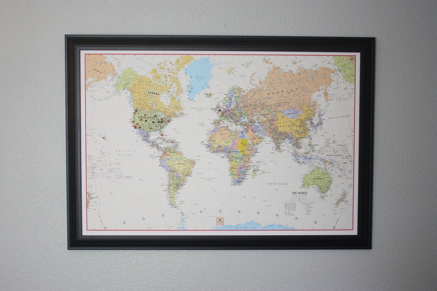 Framed Push Pin World Travel Map by PushPinTravelMaps on Etsy – Framed World Travel Map