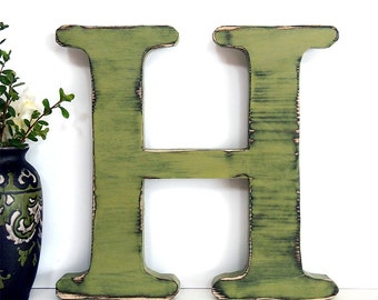 Letter H Rustic Wall Letter Pine Wood Sign Wall Decor Rustic Americana Country Chic Wedding Photo Prop Nursery Kids Decor