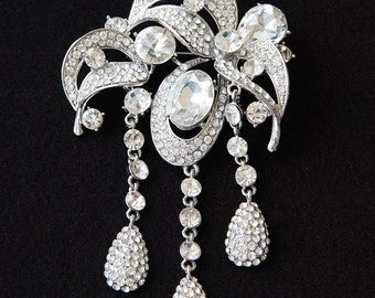Bridal Brooch, Swarovski Crystal Brooch, Stunning Rhinestone Dangle Brooch