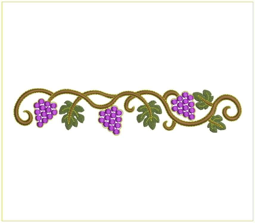 Grape border embroidery design for machine