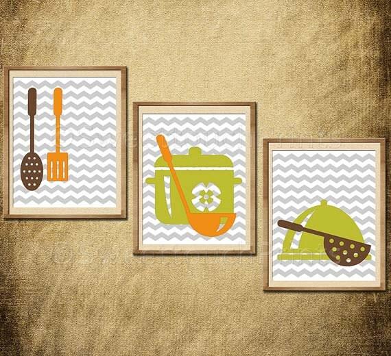 Kitchen Wall Decor Orange : Items similar to kitchen art decor dining wall gray
