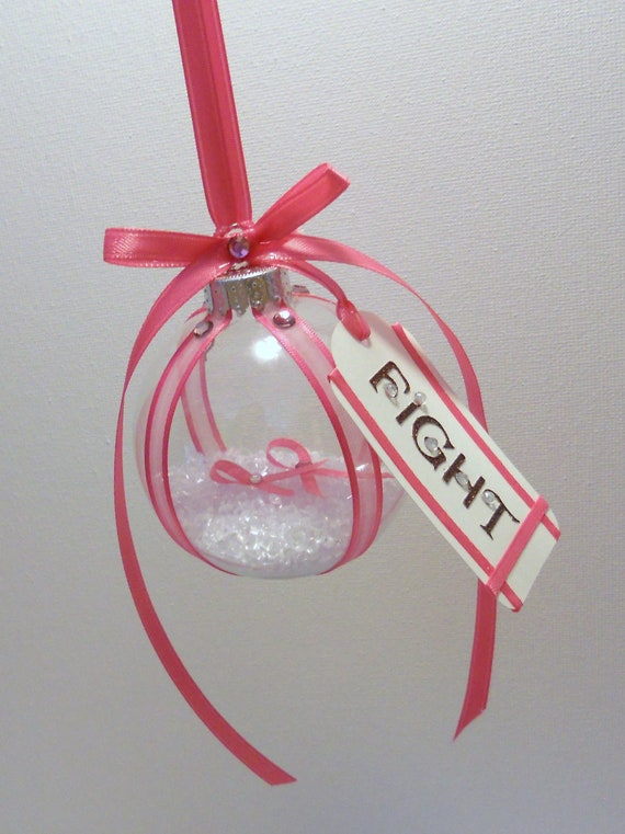 Christmas tree decorations pink - Breast Cancer Awareness Christmas Ornament