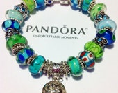 caribbean waters collection authentic pandora charm bracelet, caribbean blue and green